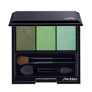 Shiseido's Luminizing Satin eye-color trios were inspired by Makeup Artistic Director Dick Page's global travel. Shown here is Jungle.