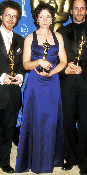 "Frances McDormand hold her Best Actress Oscar for her work in 1996's ""Fargo."" Writer/director team Joel and Ethan Coen won for Best Original Screenplay. They went on to win writing and directing Oscars for 2007's ""No Country for Old Men."""