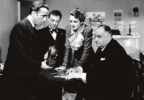 Humphrey Bogart owns the movie, but he has a stellar support cast. From left: Bogart, Peter Lorre, Mary Astor and Sydney Greenstreet.