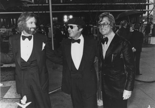 "Robert Towne, Jack Nicholson and producer Robert Evans at the 1975 Oscars ceremony. Towne took home the Oscar for writing ""Chinatown,"" perhaps the best neo-noir script ever written."