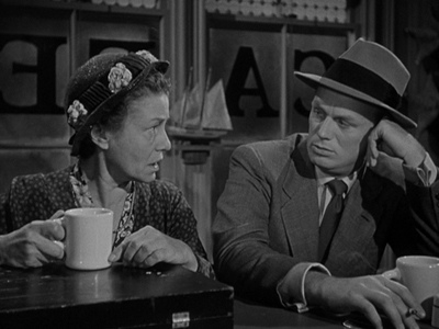 "Thelma Ritter and Richard Widmark play tough cookies in ""Pickup."""