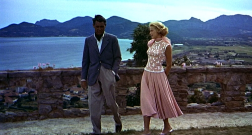 "Cary Grant and Grace Kelly take a stroll in ""To Catch a Thief"" (1955, Alfred Hitchcock)."