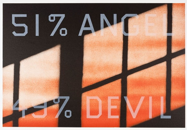 Ed Ruscha, 51% Angel / 49% Devil, 1984, Los Angeles County Museum of Art, Graphic Arts Council Fund.