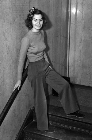 Helen Hulick defied convention by wearing slacks. Photo by Andrew H. Arnott/L.A. Times Archive/UCLA