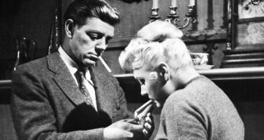 "Paul Langton and Barbara Payton star in ""Murder is My Beat."""