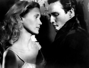 "Eva Marie Saint and Marlon Brando star in ""On the Waterfront."""
