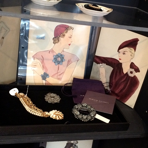 Miriam Haskell costume jewelry on display at the Skirball Cultural Center's Holiday Pop-Up Shop.