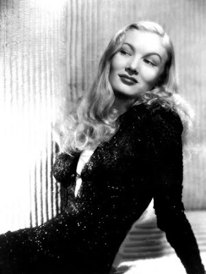 Veronica Lake in black dress