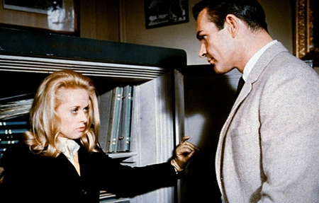 "A distraught Tippi Hedren confronts a wary Sean Connery in ""Marnie."""