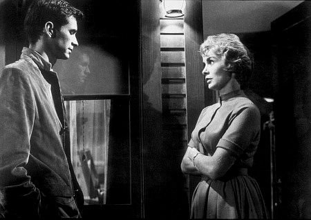 "Anthony Perkins and Janet Leigh star in ""Psycho."""