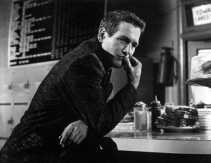 "Paul Newman is the blue-eyed king of the pool hall in ""The Hustler."""